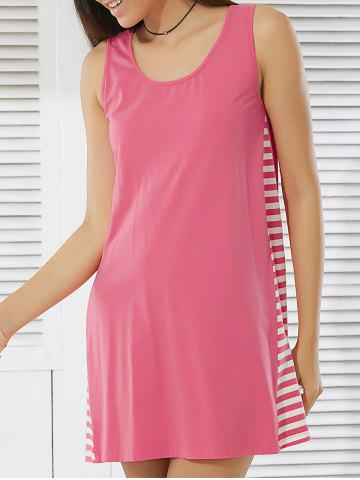 Best Sleeveless Stripe Loose-Fitting Dress PINK XL