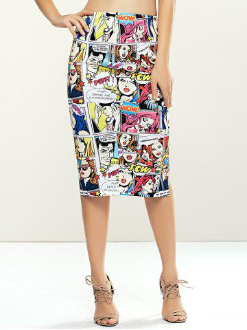 Outfit Fashionable Cartoon Beauty Printed Bodycon Midi Skirt