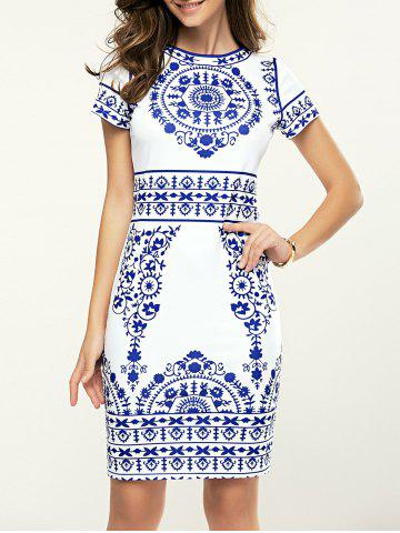 Cheap Fashionable Short Sleeve Blue and White Porcelain Print Dress