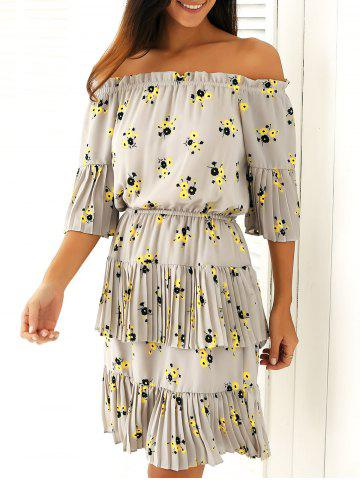 Affordable Pleated Off-The-Shoulder Floral Print Dress
