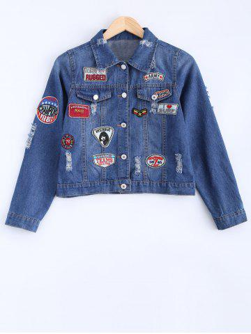 Cheap Stylish Badge Spliced Ripped Bleach Wash Cropped Denim Jacket