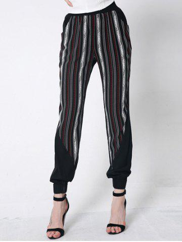 Striped Casual Harem Jogger Pants - Black - M