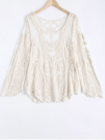Affordable Lace Crochet Long Sleeves Blouse