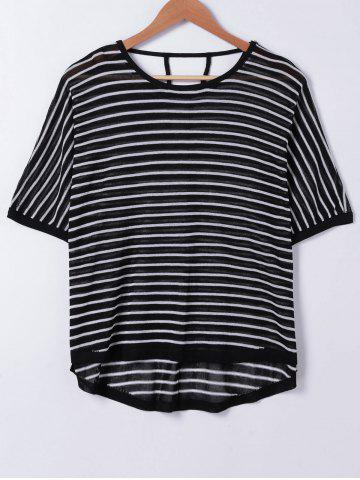 Discount Stripe Cut Out Knit T-Shirt