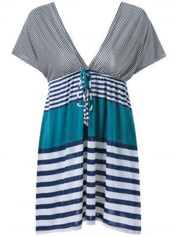 Store Plunging Neck Stripe Dress