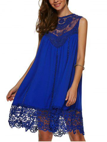 Chic Lace Panel A Line Casual Swing Dress - XL SAPPHIRE BLUE Mobile