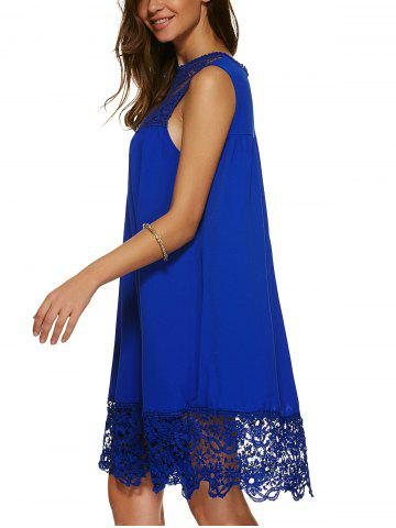 Latest Lace Panel A Line Casual Swing Dress - XL SAPPHIRE BLUE Mobile