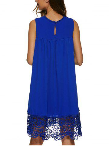 Outfits Lace Panel A Line Casual Swing Dress - XL SAPPHIRE BLUE Mobile