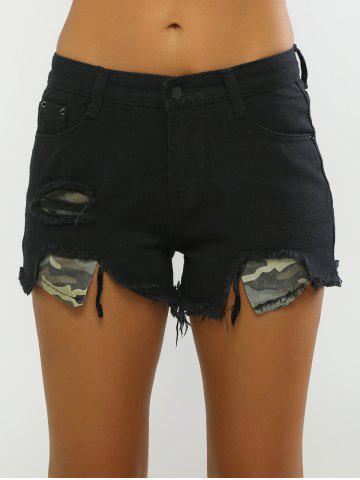 Outfits Camo Patchwork Denim Shorts