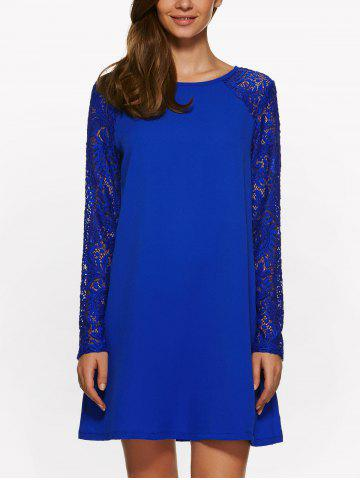 Chic Long Sleeve Lace Jewel Neck Dress SAPPHIRE BLUE S