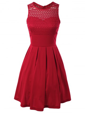 Affordable Sleeveless Lace Splicing Pleated Dress