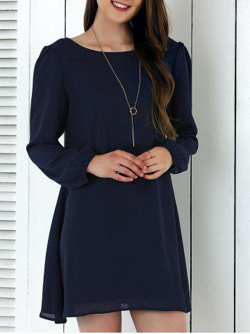 Outfit Criss-Cross Long Sleeve Chiffon Dress PURPLISH BLUE M