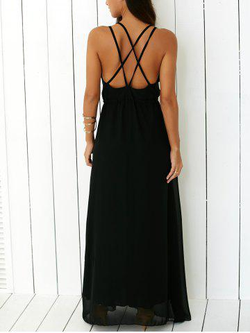 Outfit Criss Floor Length Open Back Prom Dress BLACK L
