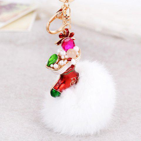 Hot Christmas Shoes Chuzzle Faux Gem and Pearl Decorative Keyring WHITE