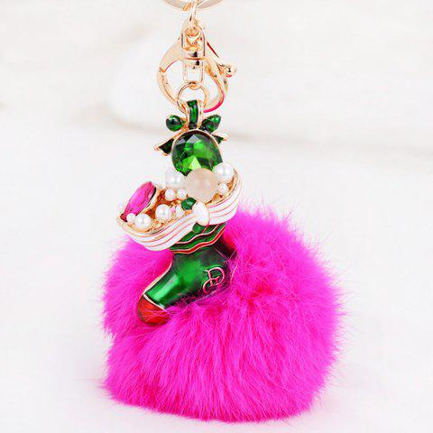 Best Christmas Shoes Chuzzle Faux Gem and Pearl Decorative Keyring - ROSE RED  Mobile