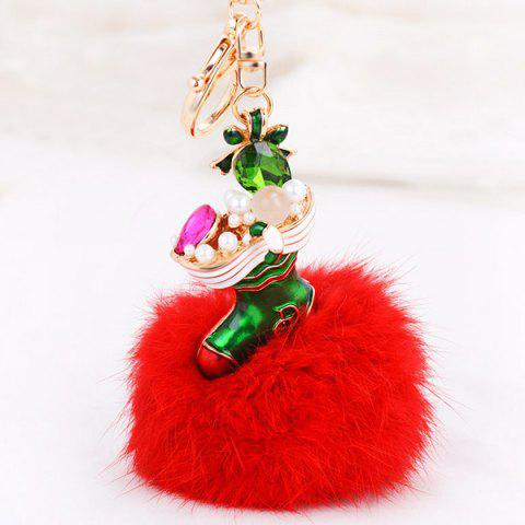 Affordable Christmas Shoes Chuzzle Faux Gem and Pearl Decorative Keyring RED