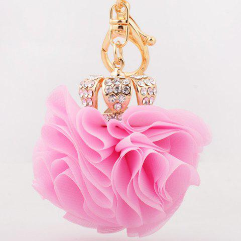 Sale Rhinestone Crown Layer Lace Flower Decorative Keyring - LIGHT PINK  Mobile