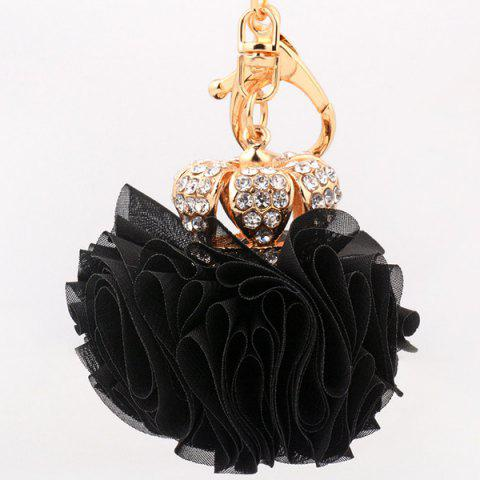 Online Rhinestone Crown Layer Lace Flower Decorative Keyring BLACK