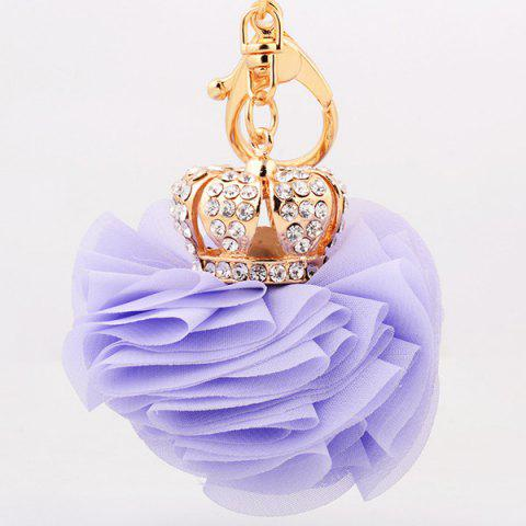 Discount Rhinestone Crown Layer Lace Flower Decorative Keyring -   Mobile