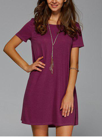 New Brief Style Short Sleeve Jewel Neck Dress