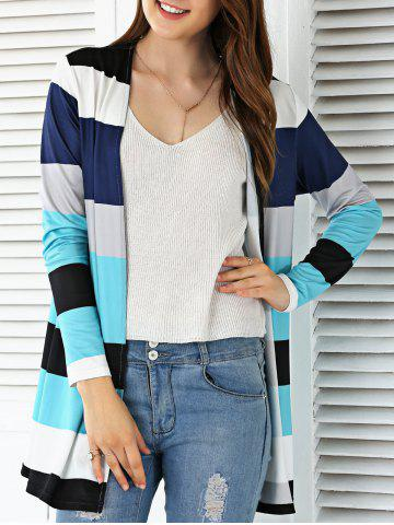 Discount Open Front Colorful Striped Cardigan