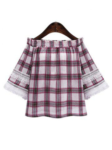 Outfits Off The Shoulder Plaid Fringed Blouse RED 3XL