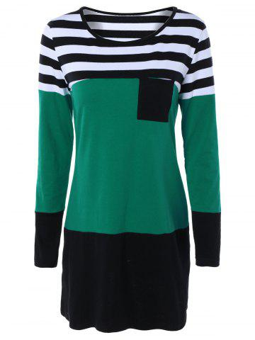 Buy Long Sleeve Hit Color Striped Dress GREEN 2XL