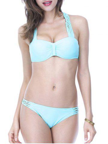 Affordable Openwork Lace-Up Pearl Embellished Bikini Set AZURE L