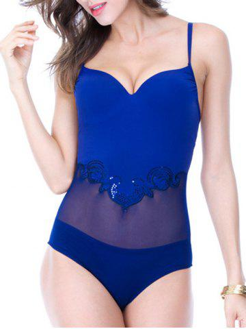 Chic Backless Bowknot Design Splicing Swimsuit