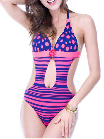 Hot Backless Polka Dot Striped Cut Out Swimsuit