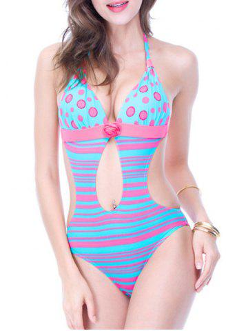 Fancy Backless Polka Dot Striped Cut Out Swimsuit