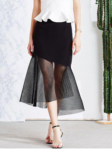 Outfits Vintage Mesh Spliced Sheer Asymmetric Mermaid Skirt