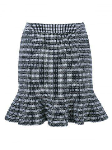 Chic Pinstriped Knit Fishtail Skirt
