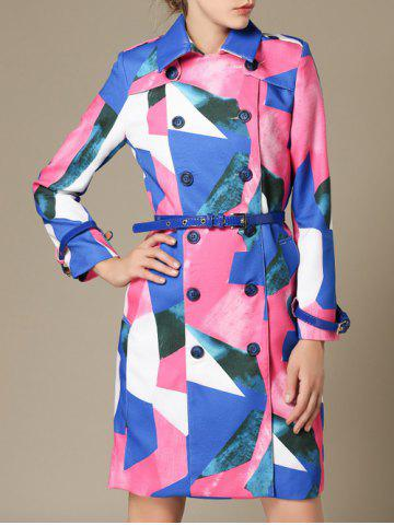 Discount Color Block Belted Skirted Coat