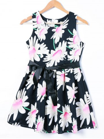 Fashion Belted Sleeveless Floral Print Dress