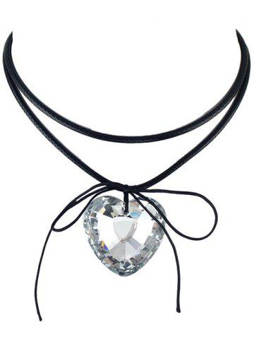 Discount Faux Crystal Heart Bowknot Layered Choker