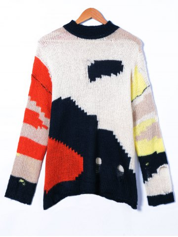 Affordable Ripped Round Neck Patchwork Sweater