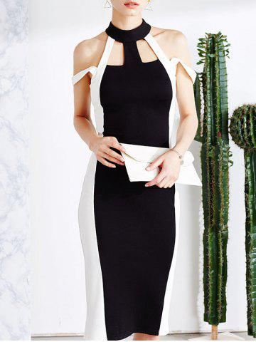 Affordable Cold Shoulder Cut Out Bodycon Bandage Midi Prom Dress