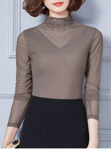 Retro Turtleneck Long Sleeve Mesh Spliced Beads Blouse - Light Coffee - Xl