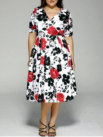 Affordable Plus Size High Waist Floral Surplice Dress BLACK AND WHITE AND RED 4XL