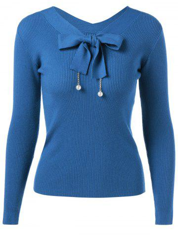 Best Bow Tie Long Sleeve Pullover Sweater