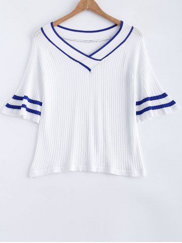 Shops Stripe Flare Sleeve V-Neck Ribbed Knitted T-Shirt