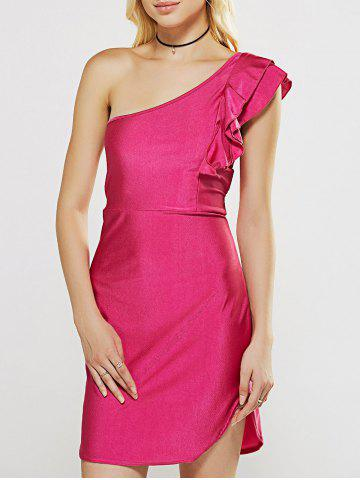 Discount One Shoulder Flounce Curved Hem Sheath Dress