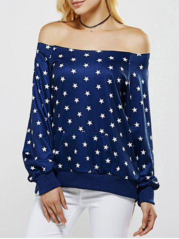 Outfit Off The Shoulder Five Point Star Print Sweatshirt