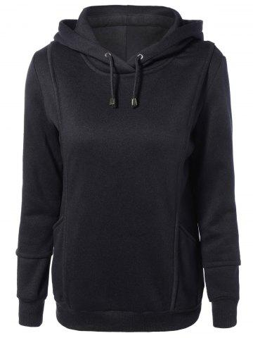 New Spliced Long Sleeve Drawstring Long Hoodie BLACK 2XL