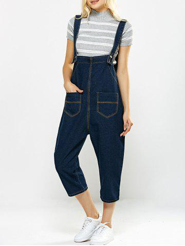 Fancy Loose-Fitting Pockets Design Drop Crotch Denim Capri Overalls