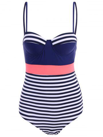 Affordable Women's Stylish Hit Color Spaghetti Strap One Striped Piece Swimwear