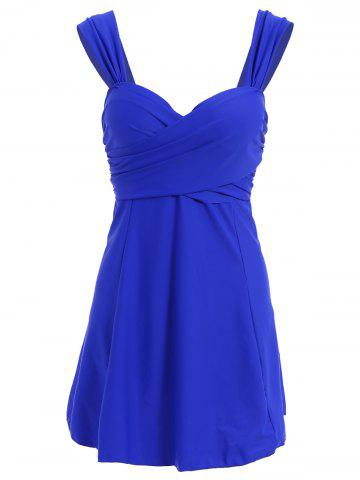 Best Women's Stylish Pure Color Push Up Sweetheart Neck Plus Size Swimwear BLUE XL