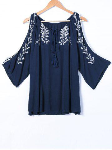 Shops Embroidery Hollow Out Long Sleeve Blouse