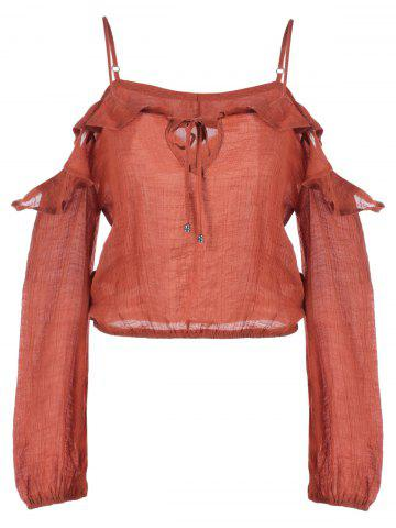 Online Ruffle Hollow Out Long Sleeve Blouse
